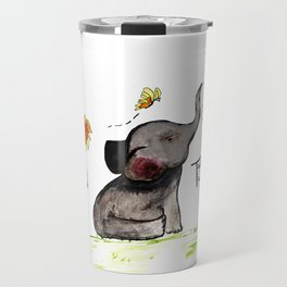 Friends are Loved by All - Baby Elephant Sunflower Butterflies Art by Annette Bailey Travel Mug