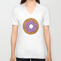 doughnut V-neck T-shirts featuring doughnut by AWOwens