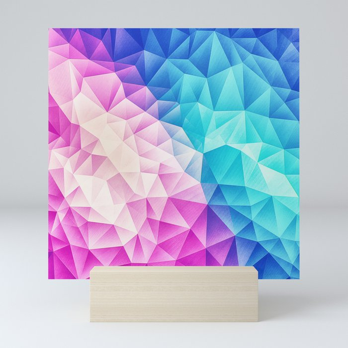 Pink - Ice Blue / Abstract Polygon Crystal Cubism Low Poly Triangle Design Mini Art Print