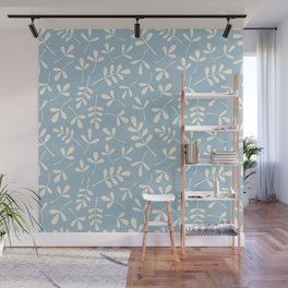 Cream on Blue Assorted Leaf Silhouette Pattern Wall Mural