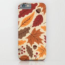 Vintage autumn leaf hand drawing illustration pattern iPhone Case