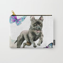 Leap! | Pit Bull Dog, Rainbow Clouds, and Butterflies Carry-All Pouch