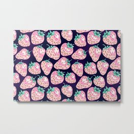 Pink Strawberry pattern on purple background Metal Print