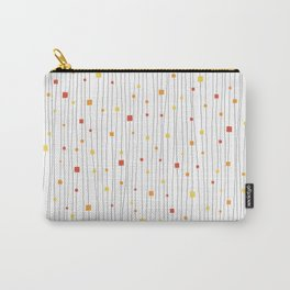 Squares and Vertical Stripes - Warm Colors on White - Hanging Carry-All Pouch