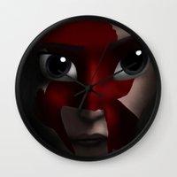 katniss Wall Clocks featuring Katniss by BellaG studio