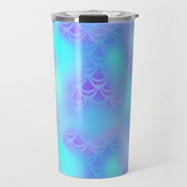 Cyan Blue and Violet Mermaid Tail Abstraction. Magic Fish Scale Pattern Travel Mug