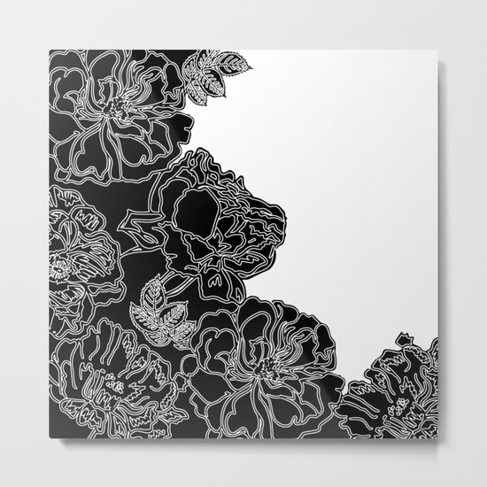 FLORAL IN BLACK AND WHITE Metal Print