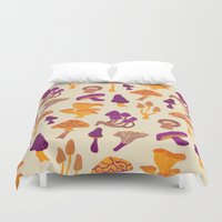 mushrooms Duvet Covers featuring Mushrooms by Eine Kleine Design Studio