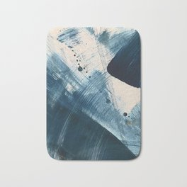 Against the Current [2]: A bold, minimal abstract acrylic piece in blue, white and gold Bath Mat