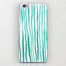 Vertical watercolor lines - aqua iPhone Skin