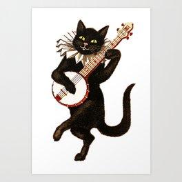 Cat playing a banjo Art Print