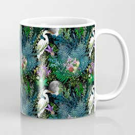 Egret In A Bog Garden Under A Full Moon Coffee Mug