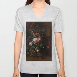 Rachel Ruysch - Roses, Convolvulus, Poppies and Other Flowers in an Urn on a Stone Ledge Unisex V-Neck