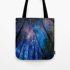 Black Trees Dark Blue Space Tote Bag