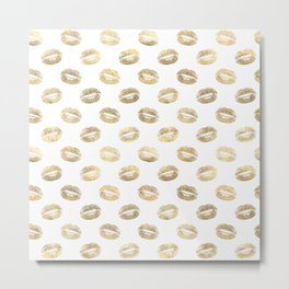 White & Gold Lip Pattern Metal Print