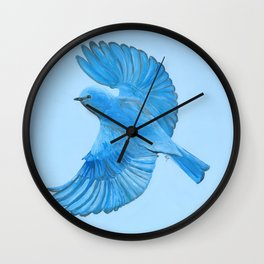 Mountain Bluebird in Flight Wall Clock