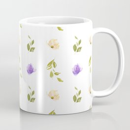 Abstract purple green ivory watercolor floral stripes pattern Coffee Mug