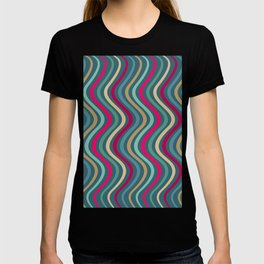 Modern Stripes Pattern of Jewel Tones Wavy Lines in Red Teal Turquoise Gold T-shirt