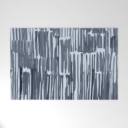 Simply Bamboo Brushstroke Indigo Blue on Sky Blue Welcome Mat