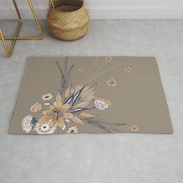 Taupe Line Art Flowers Rug