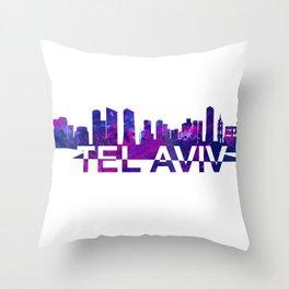Tel Aviv Israel Skyline Scissor Cut Giant Text Throw Pillow