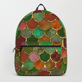 Greens & Gold Mermaid Scales Backpack