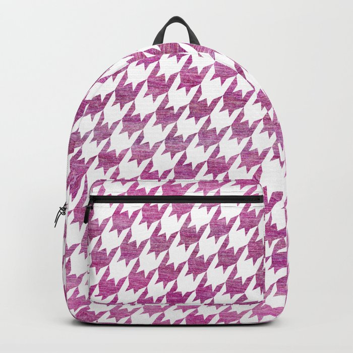 Pink Houndstooth pattern Backpack