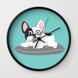 I love my bed - Lazy French Bulldog Wall Clock