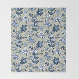 Monochrome Tan and Blue Alpine Flora Throw Blanket