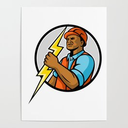 African American Electrician Lightning Bolt Mascot Poster