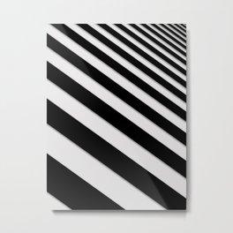 Perspective Solid Lines - Black and White Stripes - Digital Illustration - Artwork Metal Print