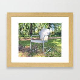 Vintage Chair by the Road Framed Art Print