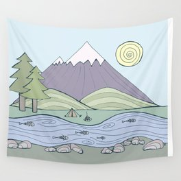 Camping in the Forest Wall Tapestry