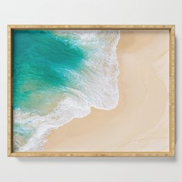 Sand Beach - Waves - Drone View Photography Serving Tray