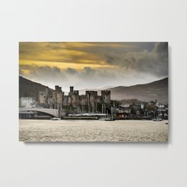 Sunset at Conwy Castle, North Wales Metal Print