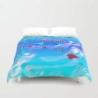 hawaii Duvet Covers featuring Hawaii Map by Roger Wedegis