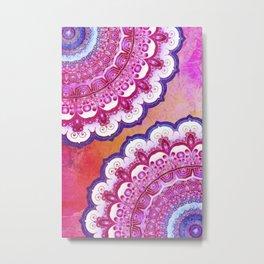 Colorful Watercolor Mandala Metal Print