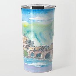 Rome Italy Castel Sant'Angelo Evening with Bridge Travel Mug