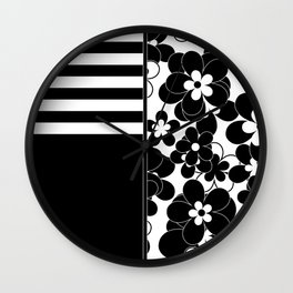 Black , white , mixed , patchwork Wall Clock