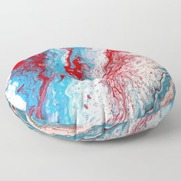 Marble Red Blue Paint Splatter Abstract Painting by Jodilynpaintings Red Floor Pillow