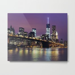 Manhattan Skyline over the Brooklyn Bridge at Night Metal Print