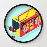 radio Wall Clocks featuring Radio Jam by Amy Wang