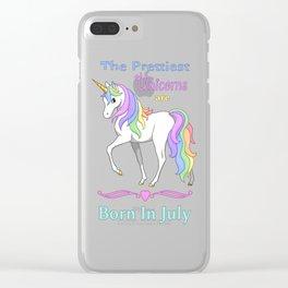 Pretty Rainbow Unicorns Are Born In July Clear iPhone Case