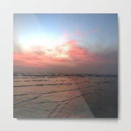 Pink Pastel Ocean Sunset Metal Print