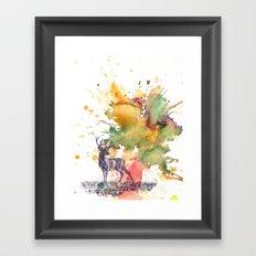 Buck Deer in Splash of Color Framed Art Print