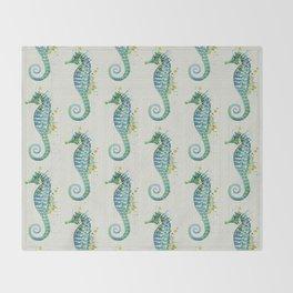 Seahorse: Green Natural Throw Blanket