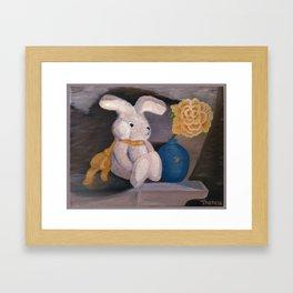 Bunny Loves a Rose Framed Art Print