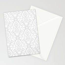 Vintage chic gray white abstract floral damask pattern Stationery Cards