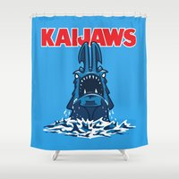 pacific rim Shower Curtains featuring KaiJaws (Pacific Rim/Jaws) by Tabner's