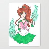 sailor jupiter Canvas Prints featuring Sailor Jupiter by StarShineSoldier